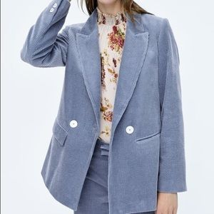 NWOT Zara Corduroy Blue-Gray Blazer in Size XS